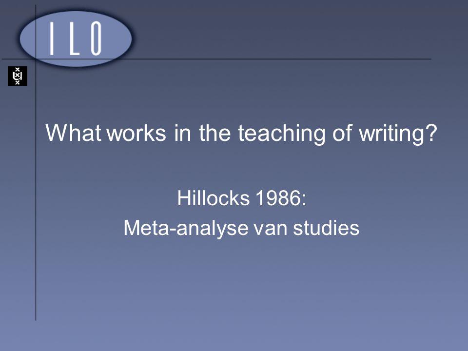What works in the teaching of writing? Hillocks 1986: Meta-analyse van studies