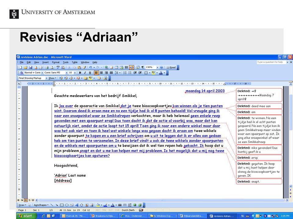 """Revisies """"Adriaan"""""""