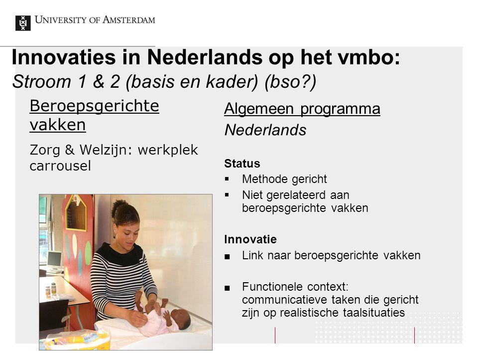 Innovaties in Nederlands op het vmbo: Stroom 1 & 2 (basis en kader) (bso?) Algemeen programma Nederlands Status  Methode gericht  Niet gerelateerd a