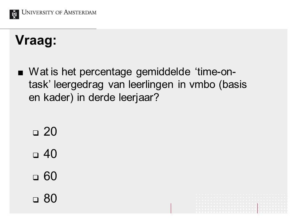 Vraag: Wat is het percentage gemiddelde 'time-on- task' leergedrag van leerlingen in vmbo (basis en kader) in derde leerjaar?  20  40  60  80