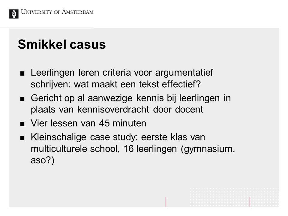 Smikkel casus Leerlingen leren criteria voor argumentatief schrijven: wat maakt een tekst effectief? Gericht op al aanwezige kennis bij leerlingen in
