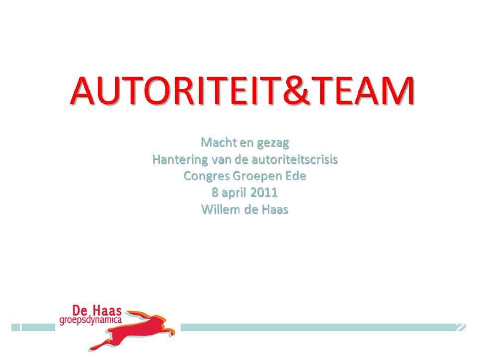 AUTORITEIT&TEAM Macht en gezag Hantering van de autoriteitscrisis Congres Groepen Ede 8 april 2011 Willem de Haas © Willem de Haas