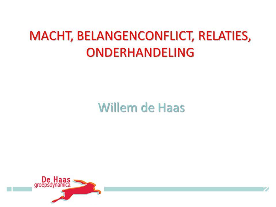 MACHT, BELANGENCONFLICT, RELATIES, ONDERHANDELING Willem de Haas © Willem de Haas