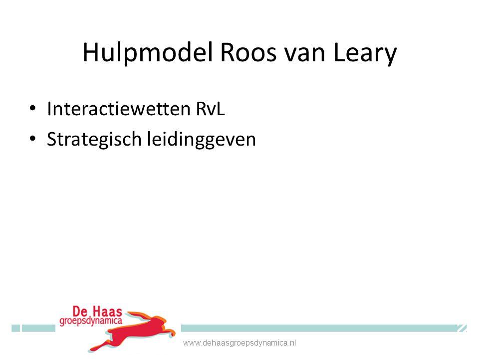 Hulpmodel Roos van Leary Interactiewetten RvL Strategisch leidinggeven www.dehaasgroepsdynamica.nl
