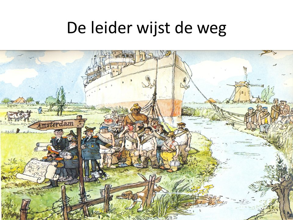 De leider wijst de weg Foto Kemkers en foute aanwijzing van www.dehaasgroepsdynamica.nl