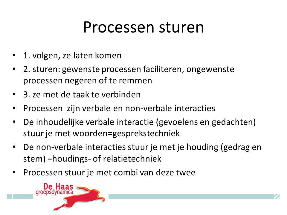 Processen sturen 1. volgen, ze laten komen 2.