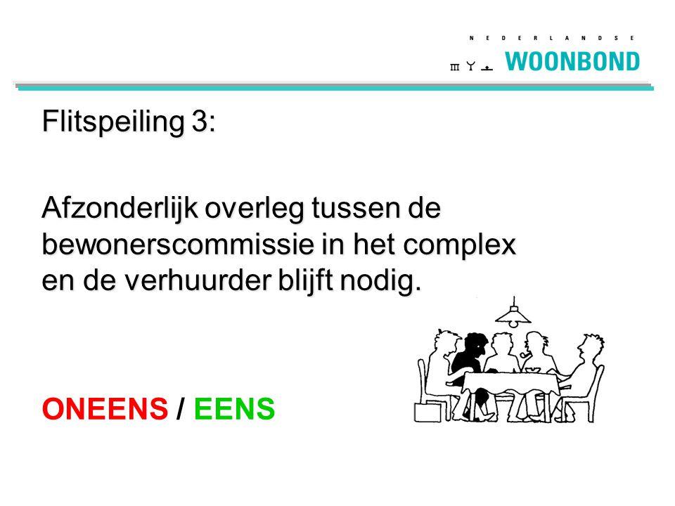 Flitspeiling 3: Afzonderlijk overleg tussen de bewonerscommissie in het complex en de verhuurder blijft nodig. ONEENS / EENS