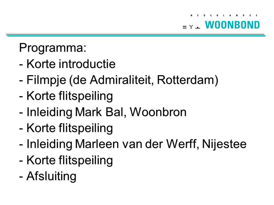 Programma: - Korte introductie - Filmpje (de Admiraliteit, Rotterdam) - Korte flitspeiling - Inleiding Mark Bal, Woonbron - Korte flitspeiling - Inlei