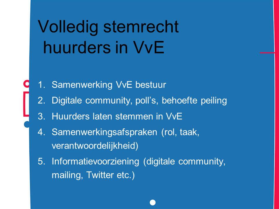 Volledig stemrecht huurders in VvE 1.Samenwerking VvE bestuur 2.Digitale community, poll's, behoefte peiling 3.Huurders laten stemmen in VvE 4.Samenwe