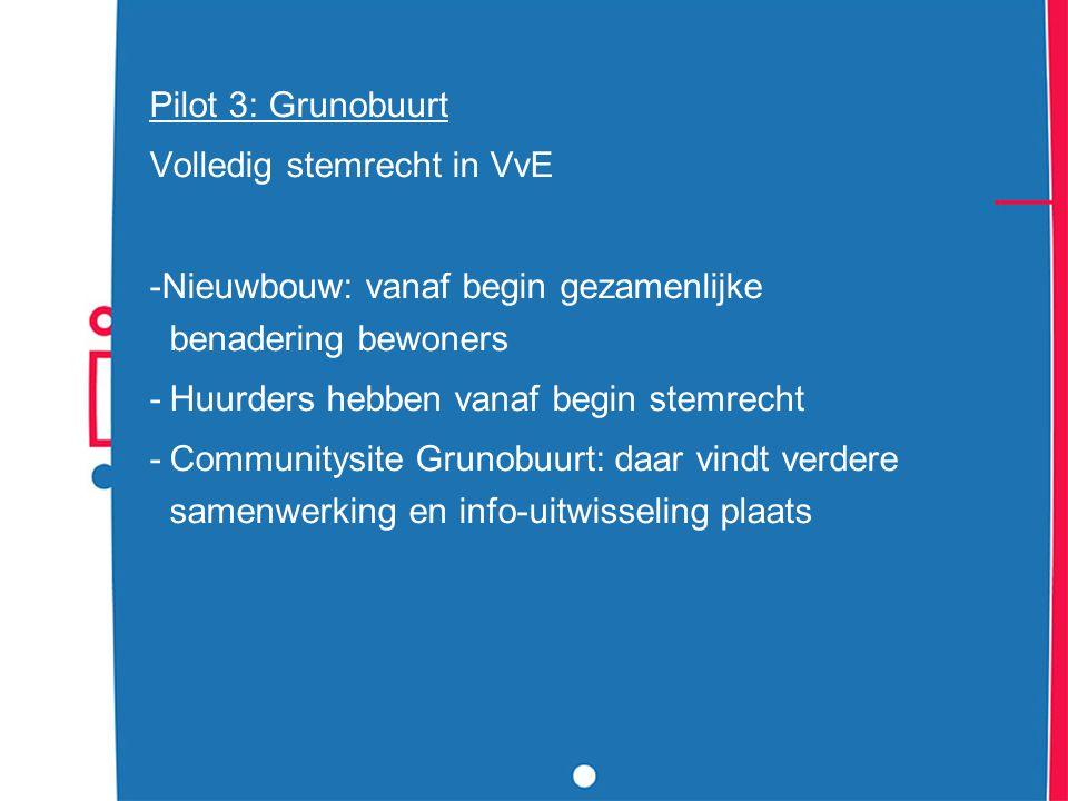 Pilot 3: Grunobuurt Volledig stemrecht in VvE -Nieuwbouw: vanaf begin gezamenlijke benadering bewoners -Huurders hebben vanaf begin stemrecht -Communi