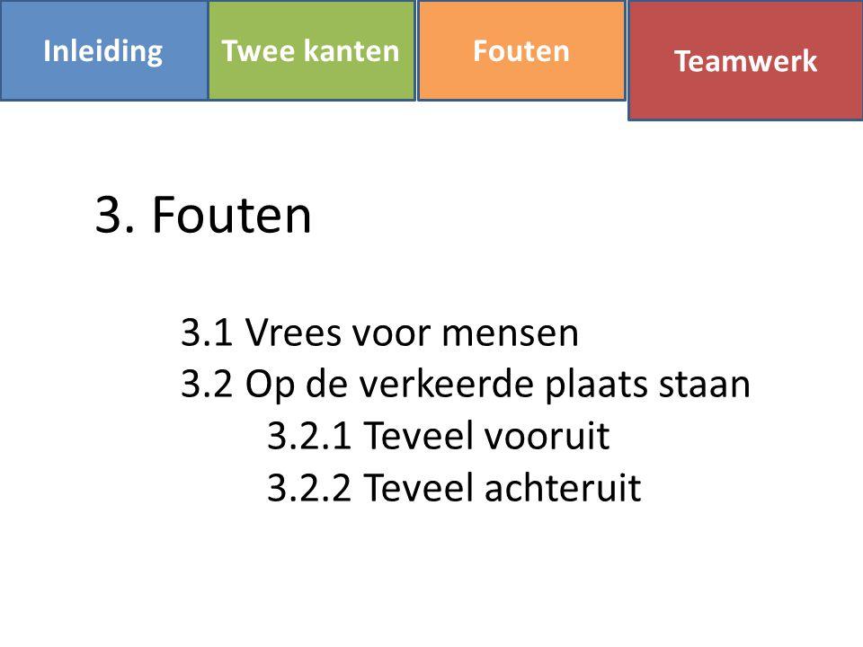 InleidingFoutenTwee kanten Teamwerk 3. Fouten 3.1 Vrees voor mensen 3.2 Op de verkeerde plaats staan 3.2.1 Teveel vooruit 3.2.2 Teveel achteruit