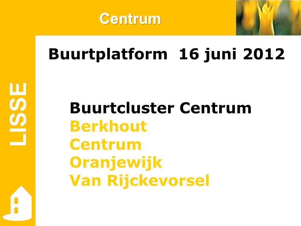 LISSE Buurtplatform 16 juni 2012 Buurtcluster Centrum Berkhout Centrum Oranjewijk Van Rijckevorsel