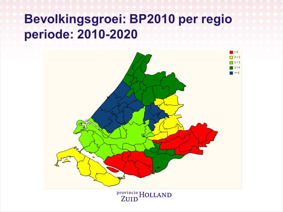 Bevolkingsgroei: BP2010 per regio periode: 2010-2020