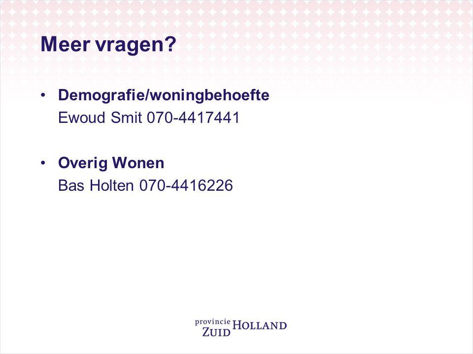 Meer vragen Demografie/woningbehoefte Ewoud Smit 070-4417441 Overig Wonen Bas Holten 070-4416226
