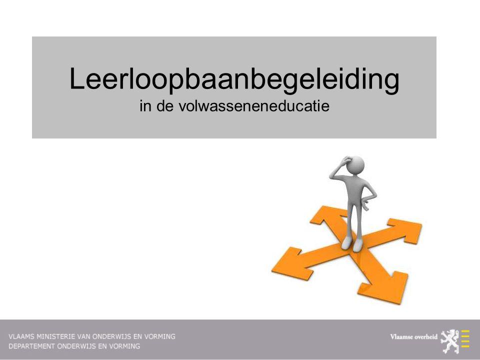 Context  Komen tot één gemeenschappelijke ruimte voor LLL in Vlaanderen  Vlaamse kwalificatiestructuur  Geïntegreerd kwaliteitskader  Gemeenschappelijk EVC-beleid  Afstandsleren en gecombineerd onderwijs  Leerloopbaanbegeleiding  …