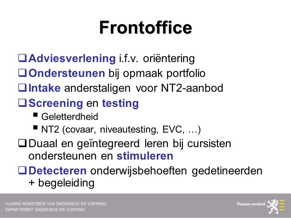 Frontoffice  Adviesverlening i.f.v. oriëntering  Ondersteunen bij opmaak portfolio  Intake anderstaligen voor NT2-aanbod  Screening en testing  G