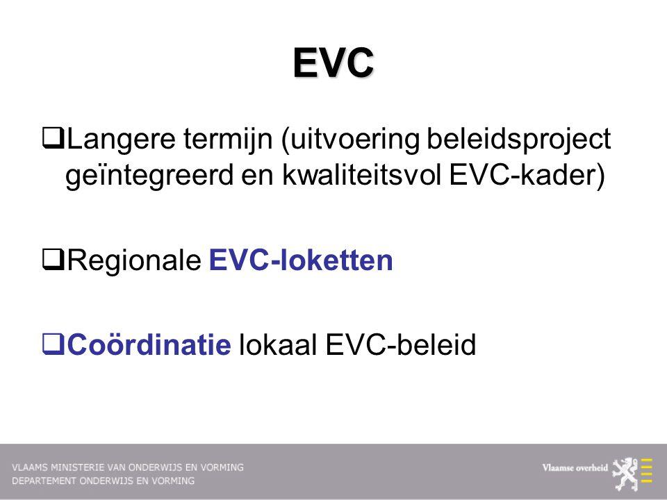EVC  Langere termijn (uitvoering beleidsproject geïntegreerd en kwaliteitsvol EVC-kader)  Regionale EVC-loketten  Coördinatie lokaal EVC-beleid