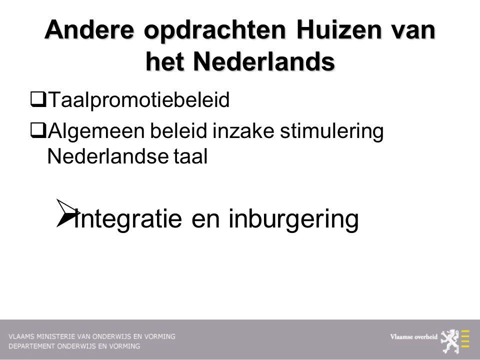 Andere opdrachten Huizen van het Nederlands  Taalpromotiebeleid  Algemeen beleid inzake stimulering Nederlandse taal  Integratie en inburgering