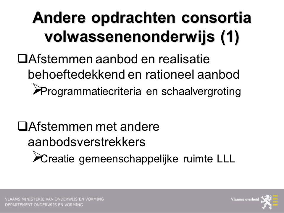 Andere opdrachten consortia volwassenenonderwijs (1)  Afstemmen aanbod en realisatie behoeftedekkend en rationeel aanbod  Programmatiecriteria en sc