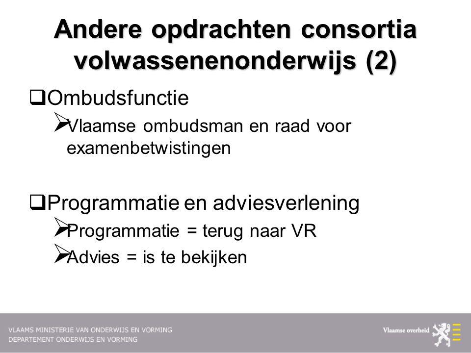 Andere opdrachten consortia volwassenenonderwijs (2)  Ombudsfunctie  Vlaamse ombudsman en raad voor examenbetwistingen  Programmatie en adviesverle