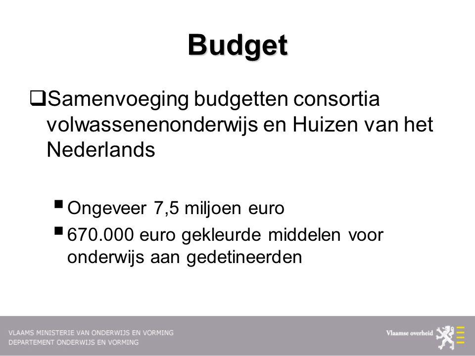 Budget  Samenvoeging budgetten consortia volwassenenonderwijs en Huizen van het Nederlands  Ongeveer 7,5 miljoen euro  670.000 euro gekleurde midde