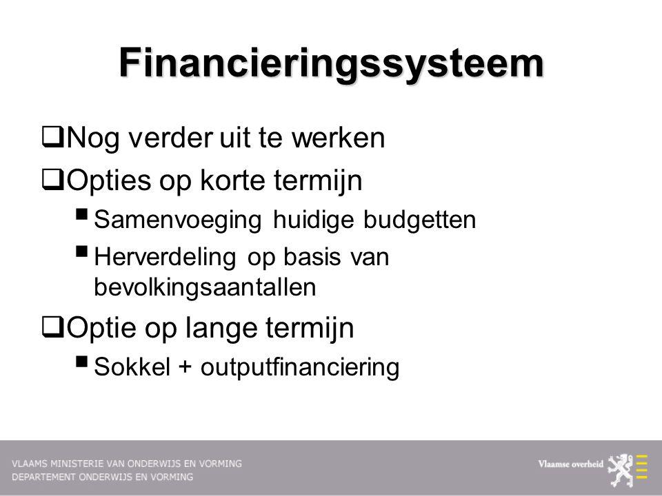 Financieringssysteem  Nog verder uit te werken  Opties op korte termijn  Samenvoeging huidige budgetten  Herverdeling op basis van bevolkingsaanta