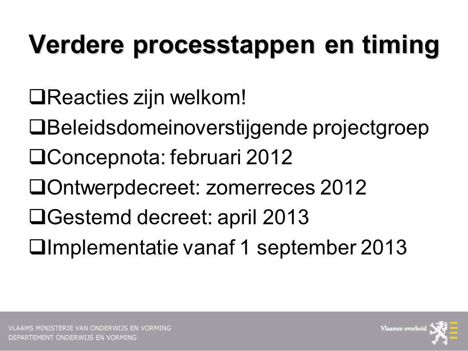 Verdere processtappen en timing  Reacties zijn welkom!  Beleidsdomeinoverstijgende projectgroep  Concepnota: februari 2012  Ontwerpdecreet: zomerr