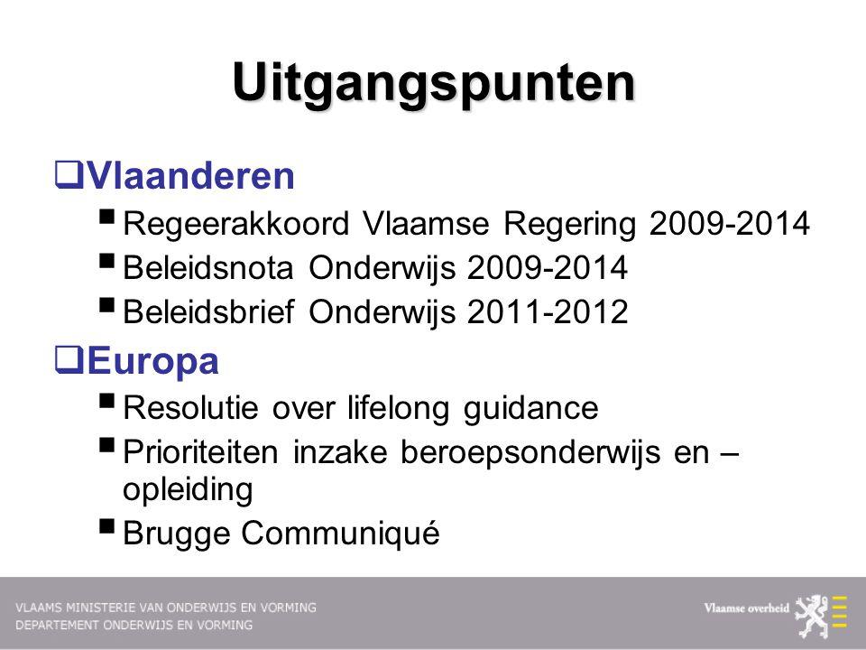 Uitgangspunten  Vlaanderen  Regeerakkoord Vlaamse Regering 2009-2014  Beleidsnota Onderwijs 2009-2014  Beleidsbrief Onderwijs 2011-2012  Europa 