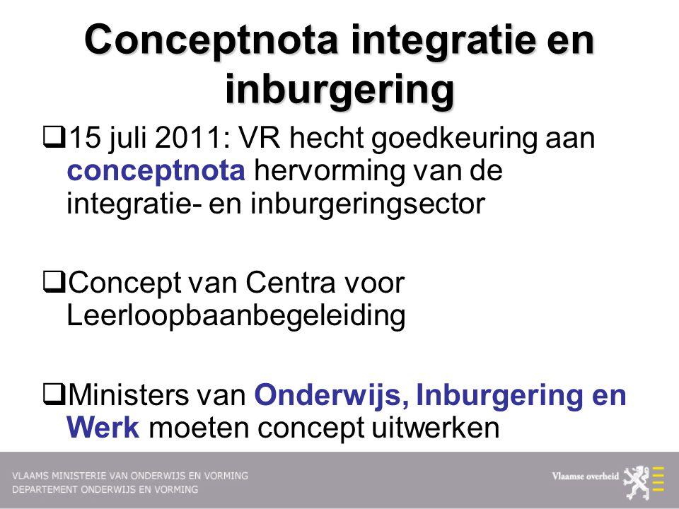 Conceptnota integratie en inburgering  15 juli 2011: VR hecht goedkeuring aan conceptnota hervorming van de integratie- en inburgeringsector  Concep