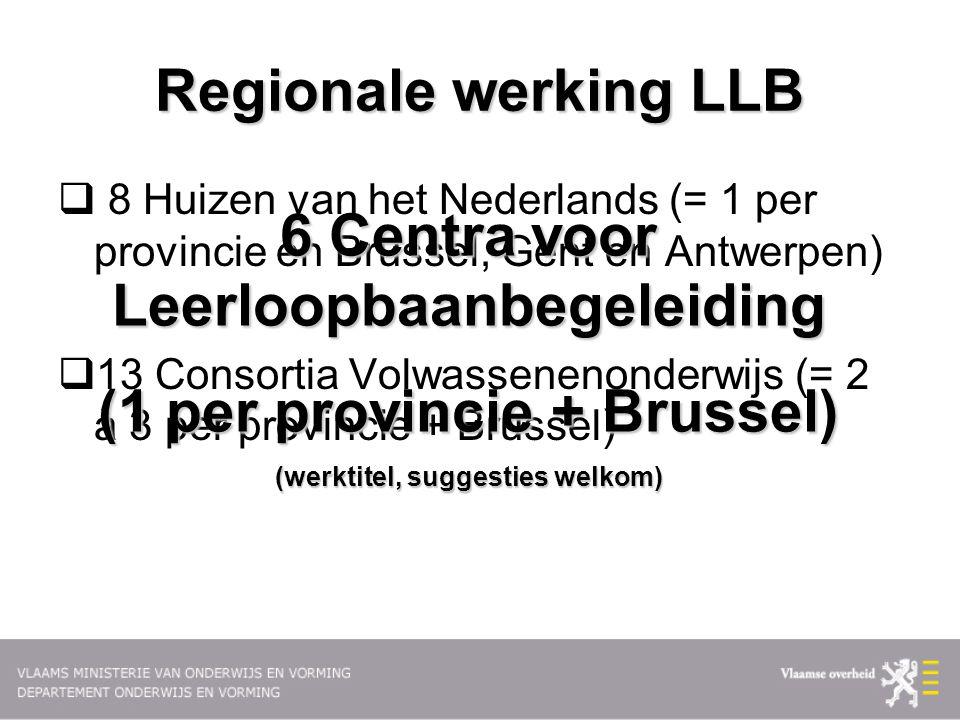 Regionale werking LLB  8 Huizen van het Nederlands (= 1 per provincie en Brussel, Gent en Antwerpen)  13 Consortia Volwassenenonderwijs (= 2 à 3 per