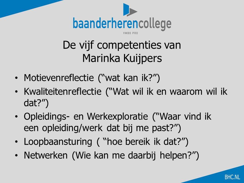 """De vijf competenties van Marinka Kuijpers Motievenreflectie (""""wat kan ik?"""") Kwaliteitenreflectie (""""Wat wil ik en waarom wil ik dat?"""") Opleidings- en W"""