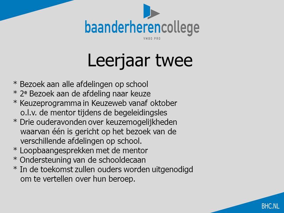 Leerjaar twee * Bezoek aan alle afdelingen op school * 2 e Bezoek aan de afdeling naar keuze * Keuzeprogramma in Keuzeweb vanaf oktober o.l.v. de ment