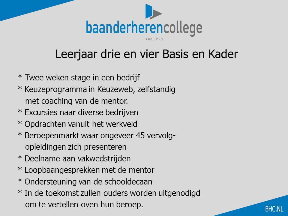Leerjaar drie en vier Basis en Kader * Twee weken stage in een bedrijf * Keuzeprogramma in Keuzeweb, zelfstandig met coaching van de mentor. * Excursi
