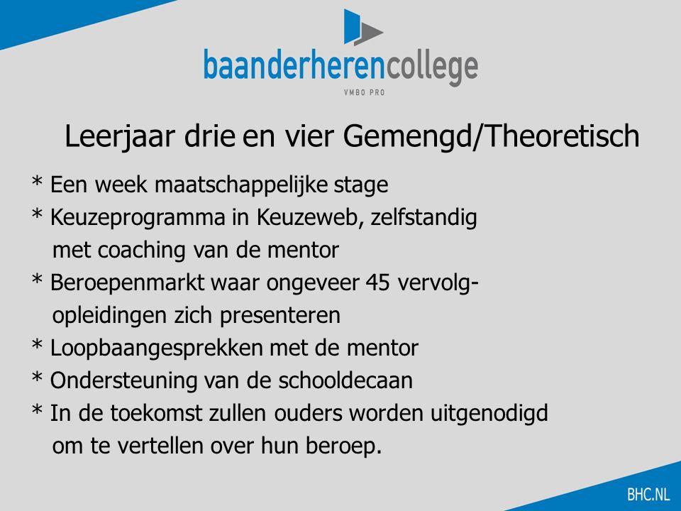Leerjaar drie en vier Gemengd/Theoretisch * Een week maatschappelijke stage * Keuzeprogramma in Keuzeweb, zelfstandig met coaching van de mentor * Ber