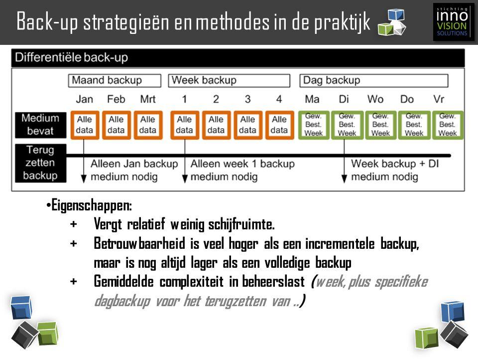 Back-up strategieën en methodes in de praktijk Eigenschappen: +Vergt relatief weinig schijfruimte. +Betrouwbaarheid is veel hoger als een incrementele