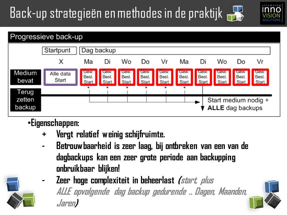 Back-up strategieën en methodes in de praktijk Eigenschappen: +Vergt relatief weinig schijfruimte. -Betrouwbaarheid is zeer laag, bij ontbreken van ee