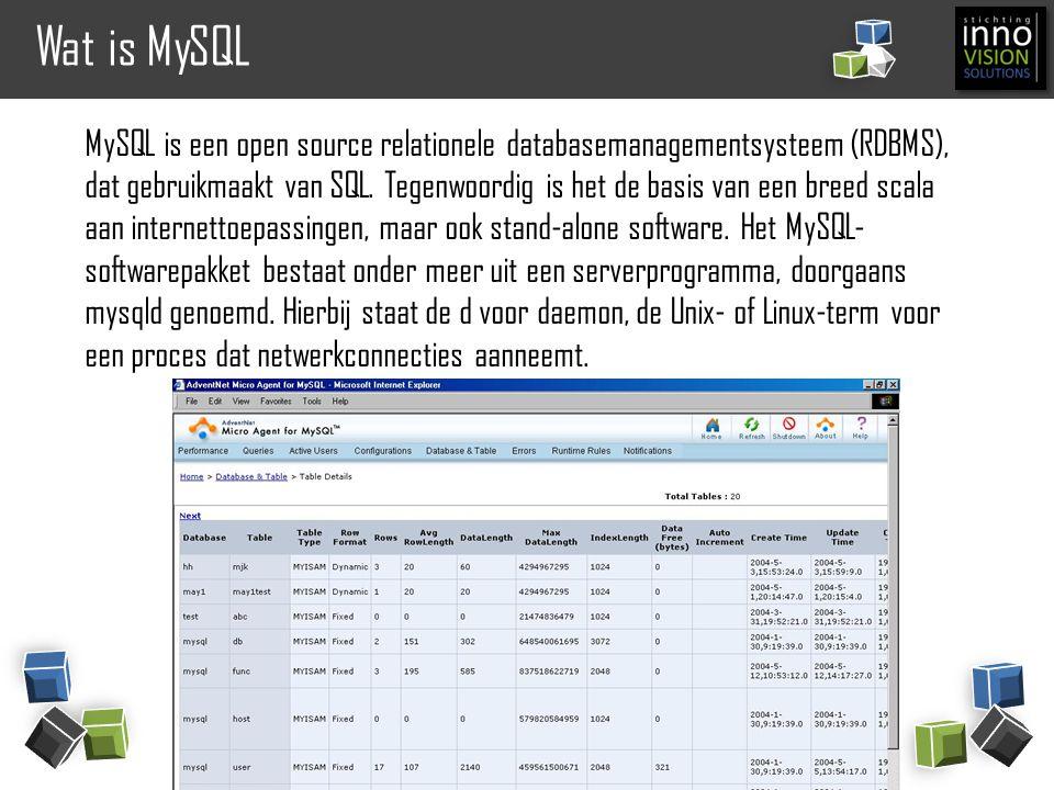 Wat is MySQL MySQL is een open source relationele databasemanagementsysteem (RDBMS), dat gebruikmaakt van SQL. Tegenwoordig is het de basis van een br