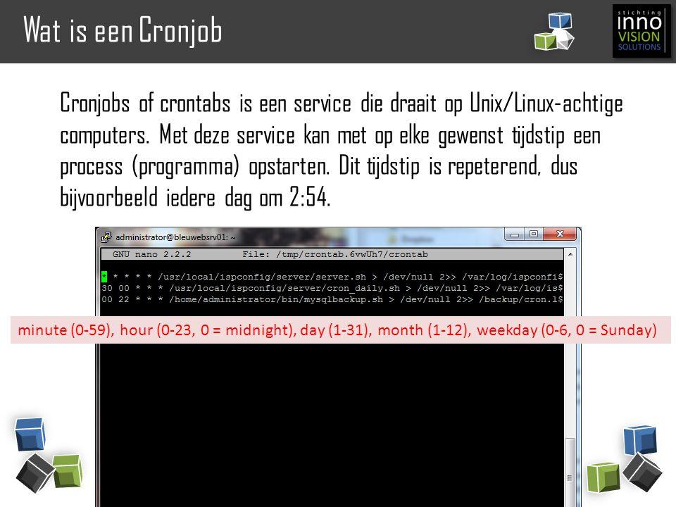 Wat is een Cronjob Cronjobs of crontabs is een service die draait op Unix/Linux-achtige computers. Met deze service kan met op elke gewenst tijdstip e