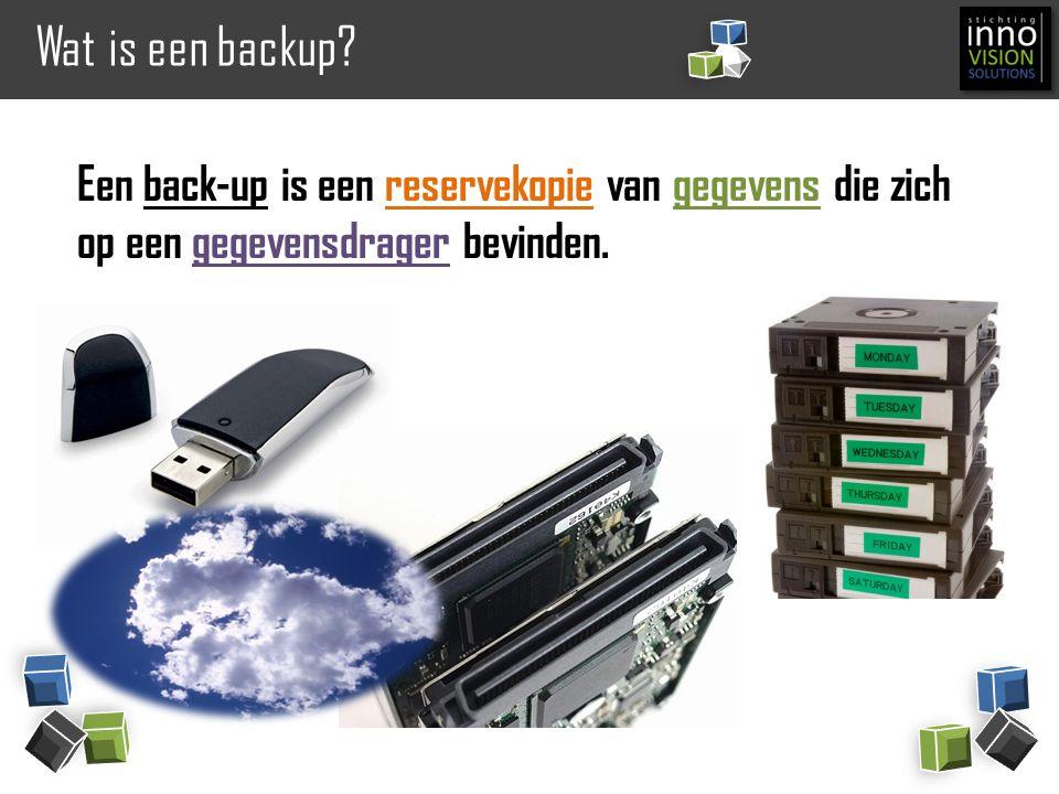 Wat is een backup? Een back-up is een reservekopie van gegevens die zich op een gegevensdrager bevinden.