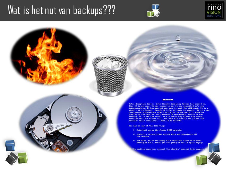 Technisch nut van het maken van backups Disaster Recovery Beschikbaar hebben van data na een totale infrastructuur ramp (b.v.