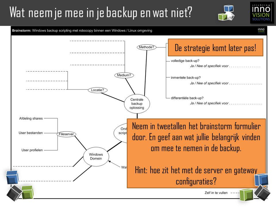 Back-up strategieën en methodes in de praktijk Eigenschappen: +Grote betrouwbaarheid, is niet afhankelijk van voorgaande backups.