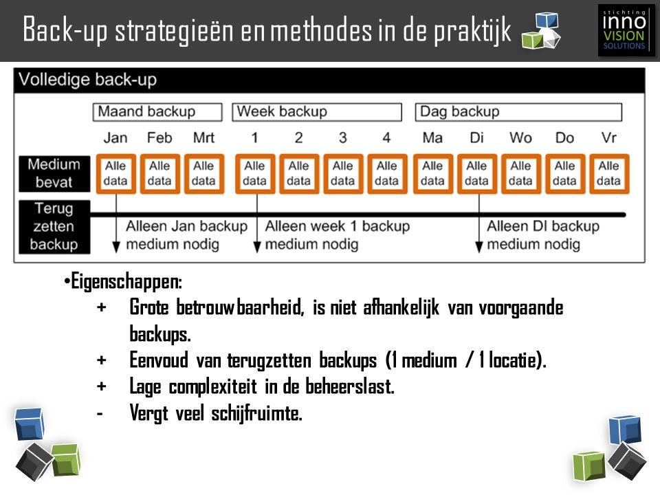 Back-up strategieën en methodes in de praktijk Eigenschappen: +Grote betrouwbaarheid, is niet afhankelijk van voorgaande backups. +Eenvoud van terugze