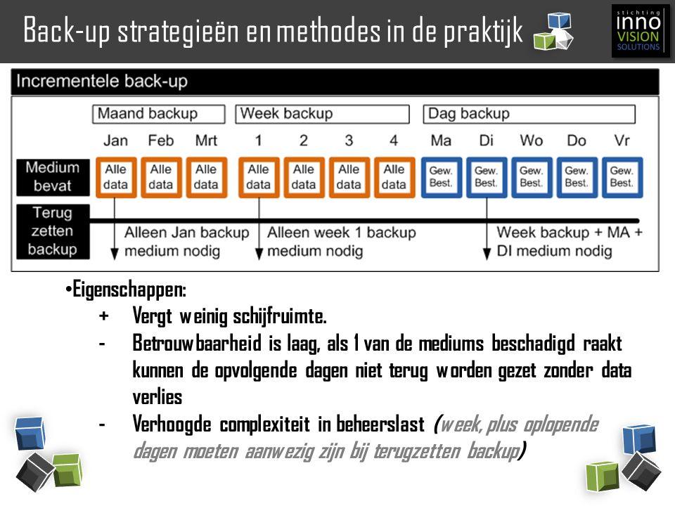 Back-up strategieën en methodes in de praktijk Eigenschappen: +Vergt weinig schijfruimte. -Betrouwbaarheid is laag, als 1 van de mediums beschadigd ra