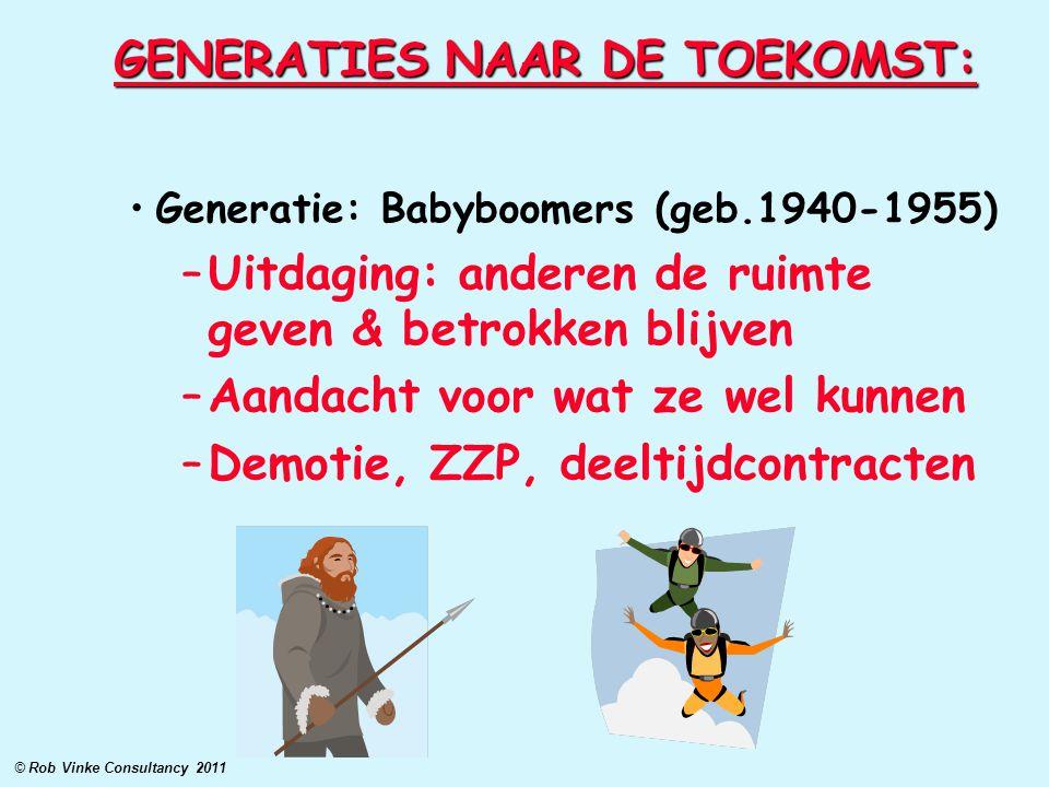 GENERATIES NAAR DE TOEKOMST: Generatie: Babyboomers (geb.1940-1955) –Uitdaging: anderen de ruimte geven & betrokken blijven –Aandacht voor wat ze wel