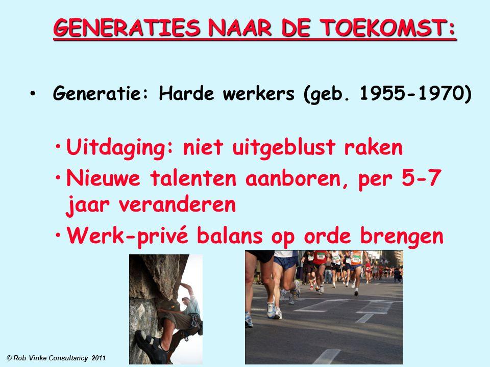 GENERATIES NAAR DE TOEKOMST: Generatie: Harde werkers (geb. 1955-1970) Uitdaging: niet uitgeblust raken Nieuwe talenten aanboren, per 5-7 jaar verande