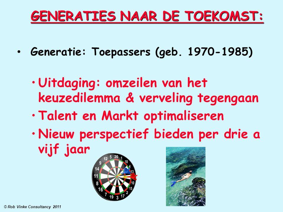 GENERATIES NAAR DE TOEKOMST: Generatie: Toepassers (geb. 1970-1985) Uitdaging: omzeilen van het keuzedilemma & verveling tegengaan Talent en Markt opt