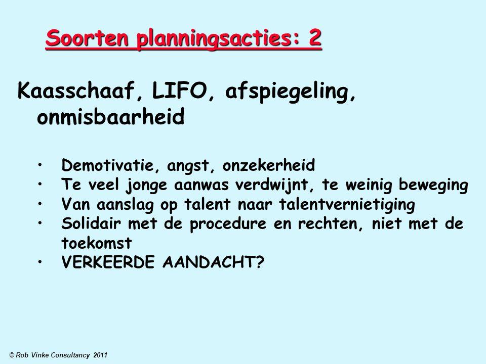 © Rob Vinke Consultancy 2011 Soorten planningsacties: 2 Kaasschaaf, LIFO, afspiegeling, onmisbaarheid Demotivatie, angst, onzekerheid Te veel jonge aa