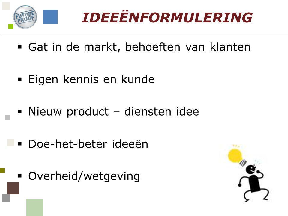  Gat in de markt, behoeften van klanten  Eigen kennis en kunde  Nieuw product – diensten idee  Doe-het-beter ideeën  Overheid/wetgeving IDEEËNFOR