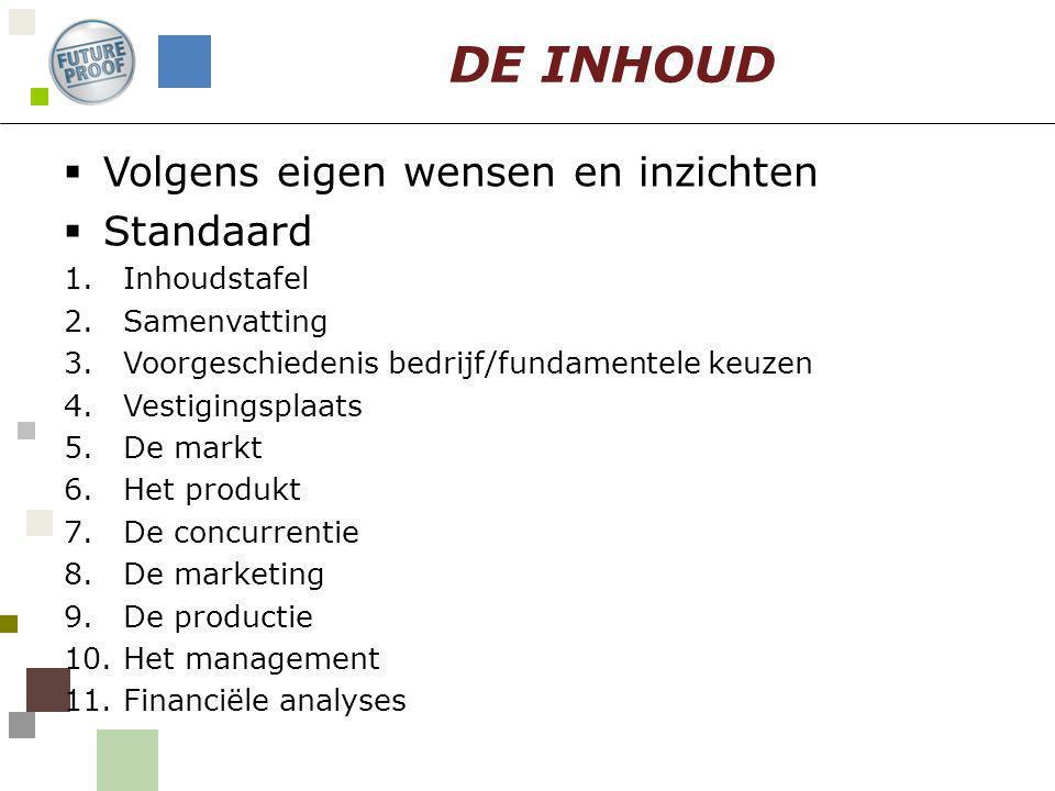  Volgens eigen wensen en inzichten  Standaard 1.Inhoudstafel 2.Samenvatting 3.Voorgeschiedenis bedrijf/fundamentele keuzen 4.Vestigingsplaats 5.De m
