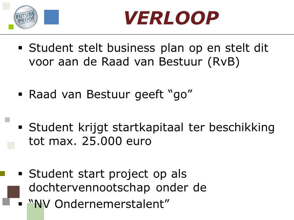  Student stelt business plan op en stelt dit voor aan de Raad van Bestuur (RvB)  Raad van Bestuur geeft go  Student krijgt startkapitaal ter beschikking tot max.